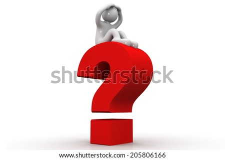 3d person with a question mark - stock photo