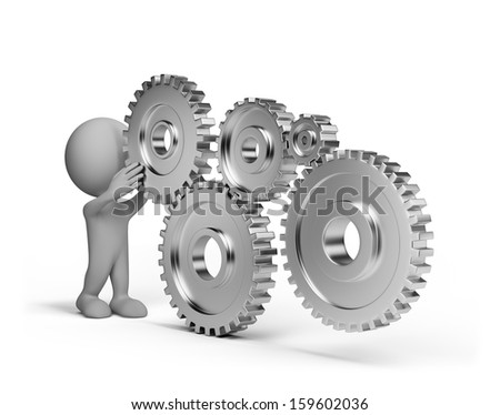 3d person  with a shiny wheel gears. 3d image. White background. - stock photo