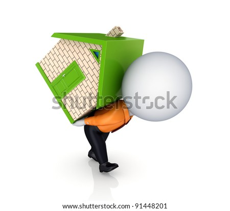 3d person with a small house in a hands.Isolated on white background. - stock photo
