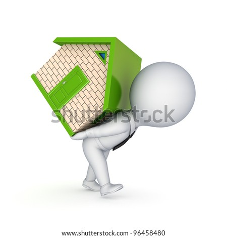 3d person with a small house.Isolated on white background. - stock photo