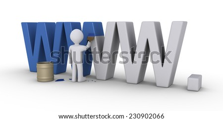3d person with brush is painting WWW letters - stock photo