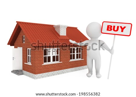 3d Person with Buy Banner and Brick House on a white background - stock photo