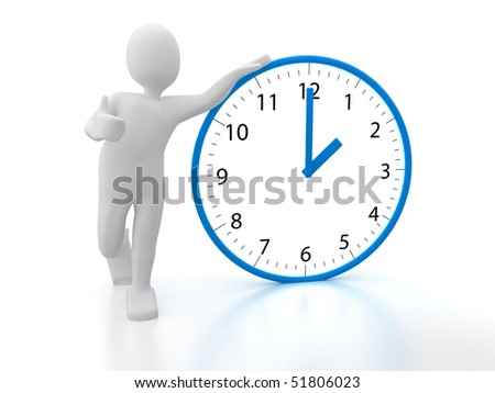 3d person with clock