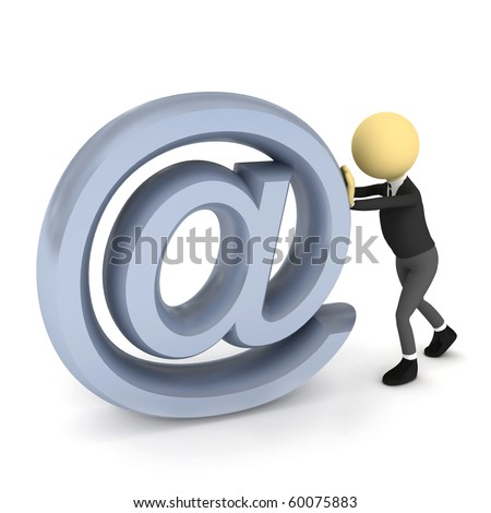 3d person with e-mail sign over white. 3d render
