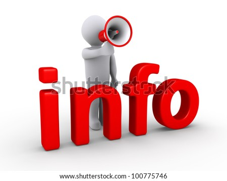 3d person with megaphone is behind info letters - stock photo