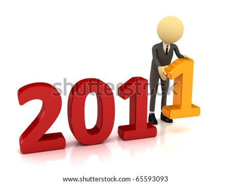 3d person with number 2011. Computer generated image - stock photo
