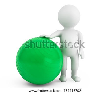 3d person with pilates exercise ball on a white background - stock photo