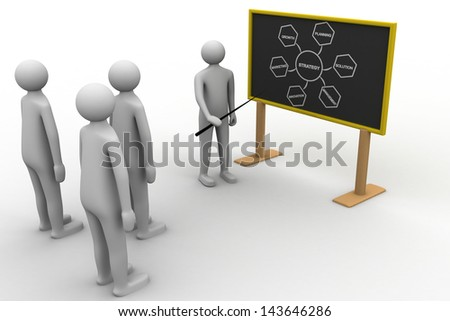 3d person with pointer in hand close to blackboard