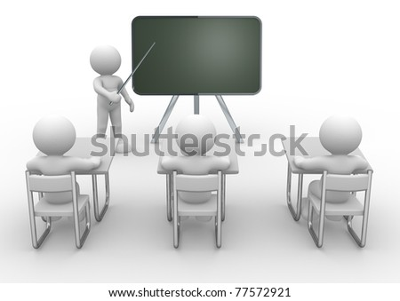 3d person with pointer in hand close to blackboard. Concept of education and learning.  - 3d render illustration - stock photo