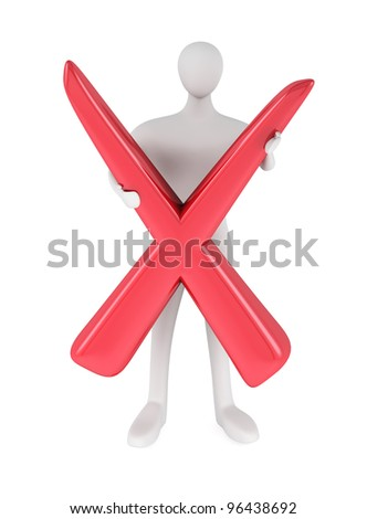 3d person with red negative symbol