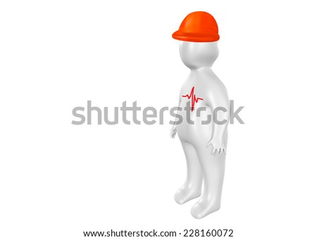 3D person with safety helmet and cardiogram as health and safety concept - stock photo