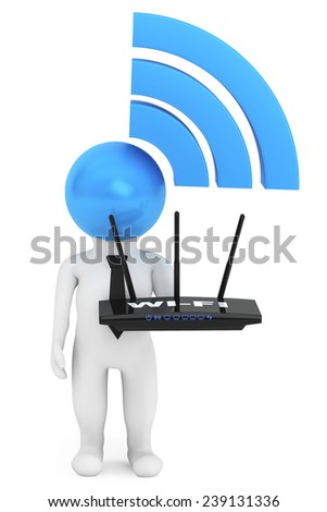 3d Person with WiFi sign and router on a white background