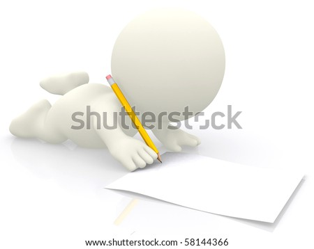 3D person writing on the floor isolated over white - stock photo