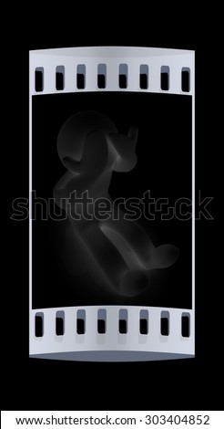 3d personage with hands on face on black background. Series: human emotions. The film strip - stock photo