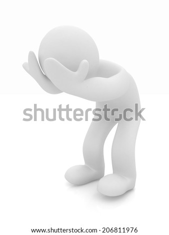3d personage with hands on face on white background. Starting series: human emotions - stock photo