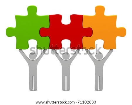 3d persons with puzzle. - stock photo