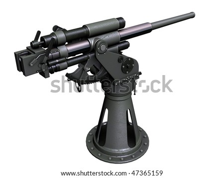 3d perspective render Soviet naval 45mm Gun 21K - stock photo