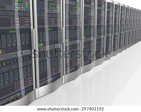 3d perspective render view of row of powerful computer networking servers system machine