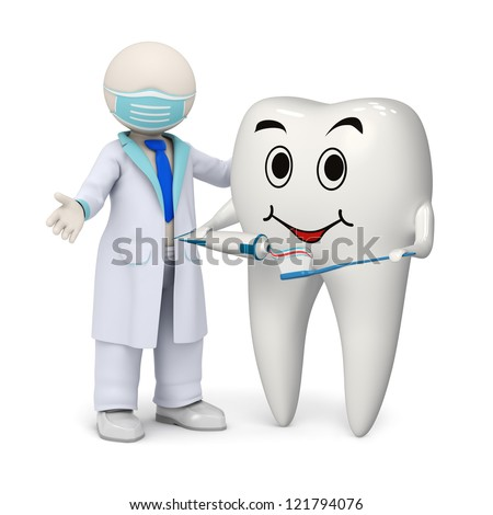 3d photo-realistic render of a 3d dentist and a smiling tooth holding a toothpaste and a toothbrush in his hands - stock photo