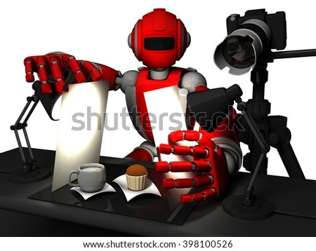 3D Photographer Robot, Red Color, Setting Up Food Photography, A cup Of Milk And Small Cake