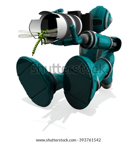 3D Photographer Robot Torquoise Color With DSLR Camera and Dragonfly in front of lens