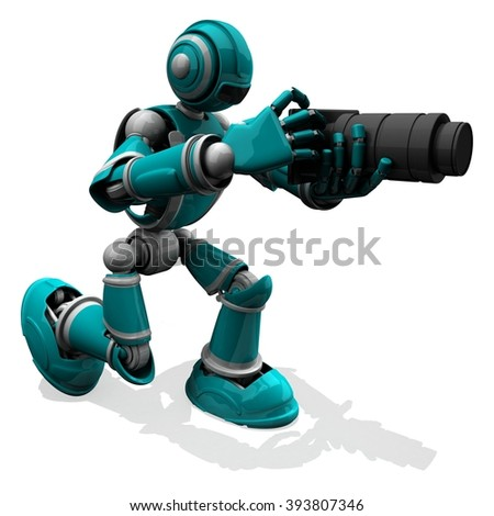 3D Photographer Robot Turquoise Color Pose With Flat Camera And Black Zoom Lens