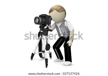 3D Photographer with camera on white background - stock photo