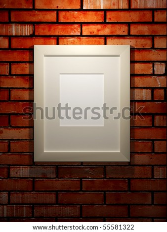 3d picture frame on a black brick wall - stock photo