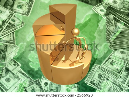 3D Pie Chart Stairs Concept - stock photo