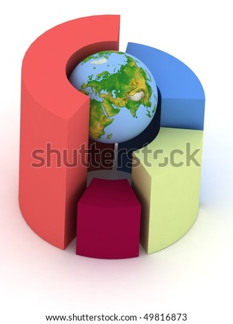 3D pie chart with a globe on a white background - stock photo