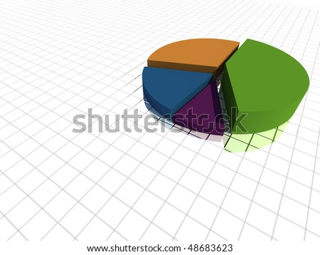 3d pie graph isolated - stock photo
