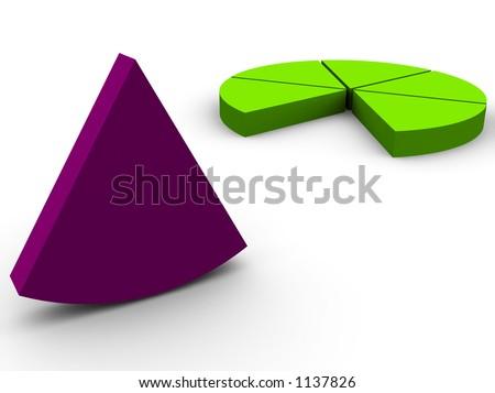 3d pie graph render - stock photo