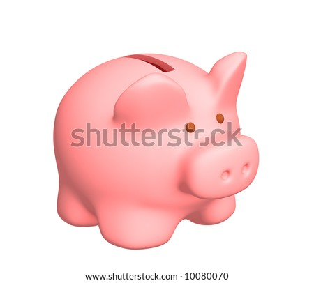 3d pig a coin box of pink color. Objects over white