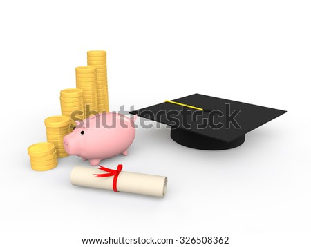 3d piggy bank with graduation hat and coins - stock photo
