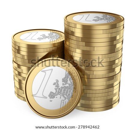 3d. Pile of euro coins. Isolated white background.  - stock photo