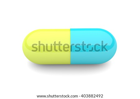 3d pill with reflection isolated over white background