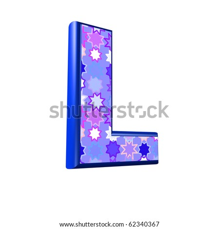 3d pink and blue letter isolated on a white background
