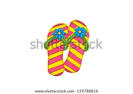 3d pink and yellow flip flops, isolated on white.