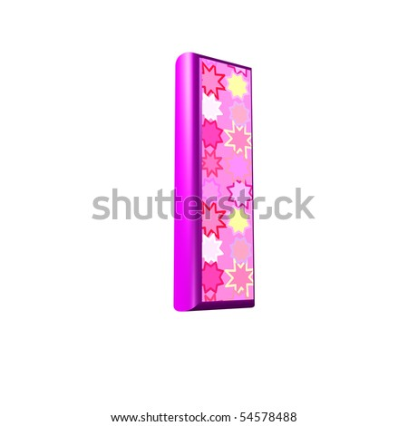 3d pink letter isolated on a white background