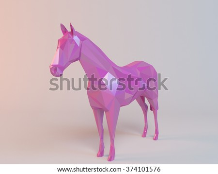 3D pink low poly (horse) inside a white stage with high render quality to be used as a logo, medal, symbol, shape, emblem, icon, children story, or any other use. - stock photo