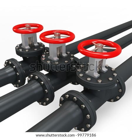 3d pipe and oil valve on white background - stock photo