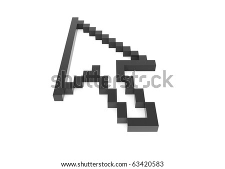 3d pixel arrow black high isolated on white background - stock photo