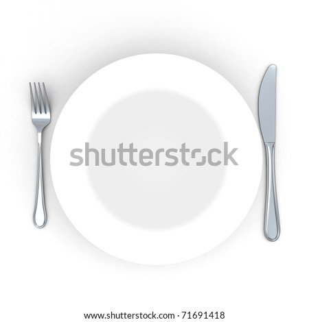 3d Place setting with plate, knife and fork isolated on white - stock photo