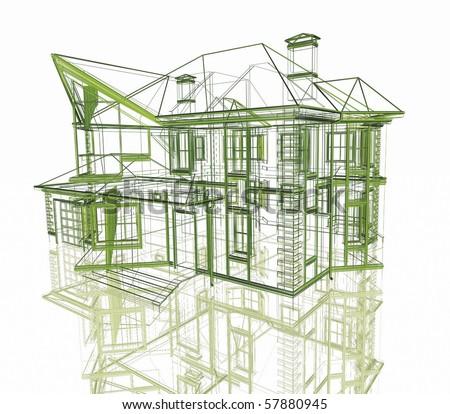 3D plan drawing - stock photo