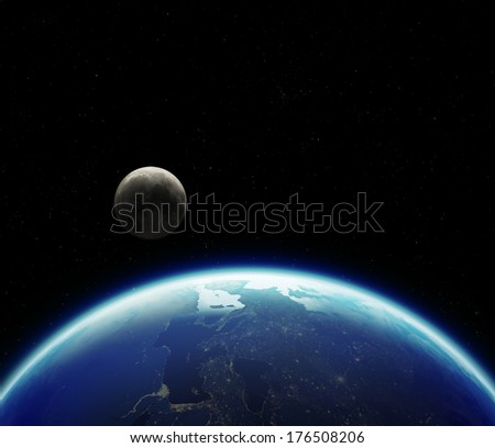 3D Planet Earth with Moon. Elements of this image furnished by NASA. - stock photo