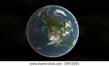 3d planet of earth and stars in background - stock photo