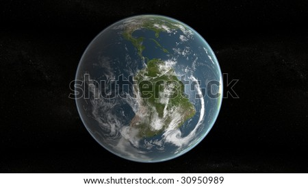 3d planet of earth showing south america and stars in background - stock photo