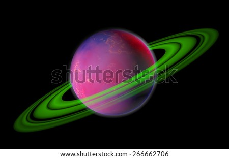 3D Planet with Rings Isolated on Black Background - stock photo
