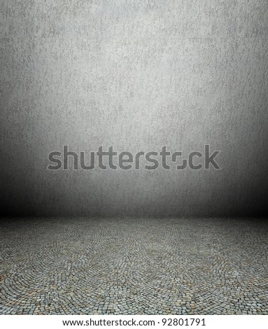 3d plaster wall and pavement, grey texture interior - stock photo