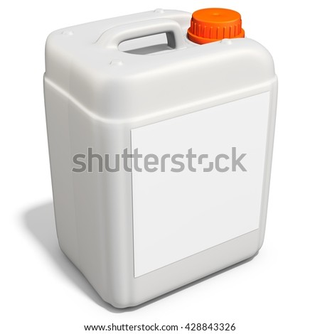3d plastic canister, container  on white background 3D illustration - stock photo